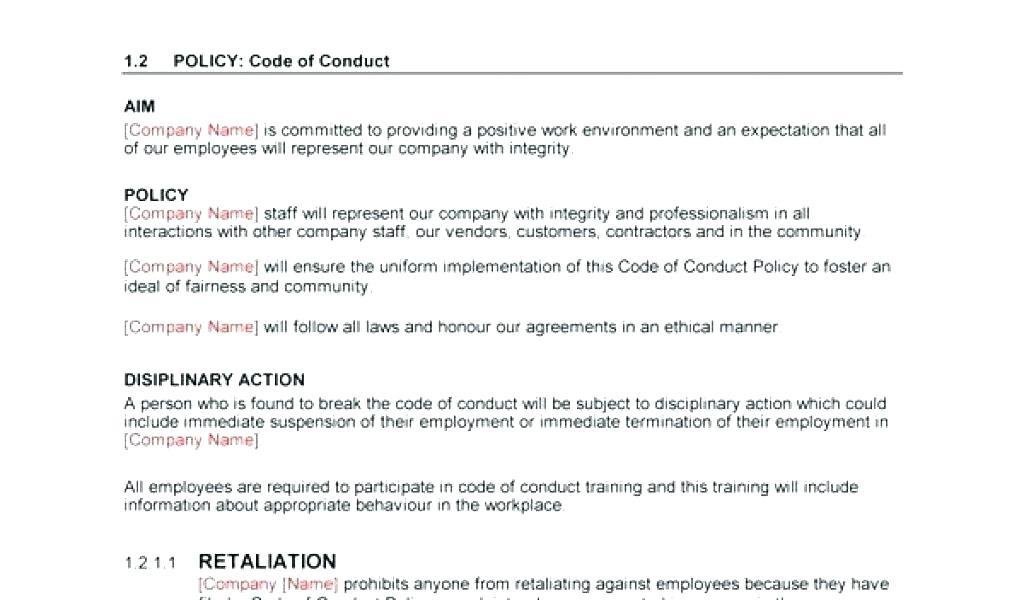 Employee Code Of Conduct Template Australia
