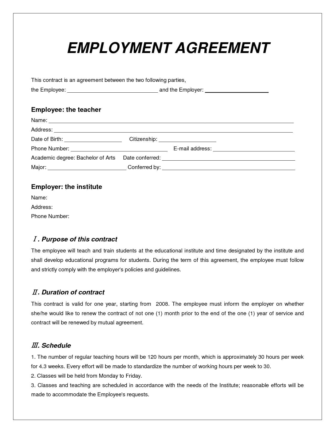 Employee Contract Templates Free