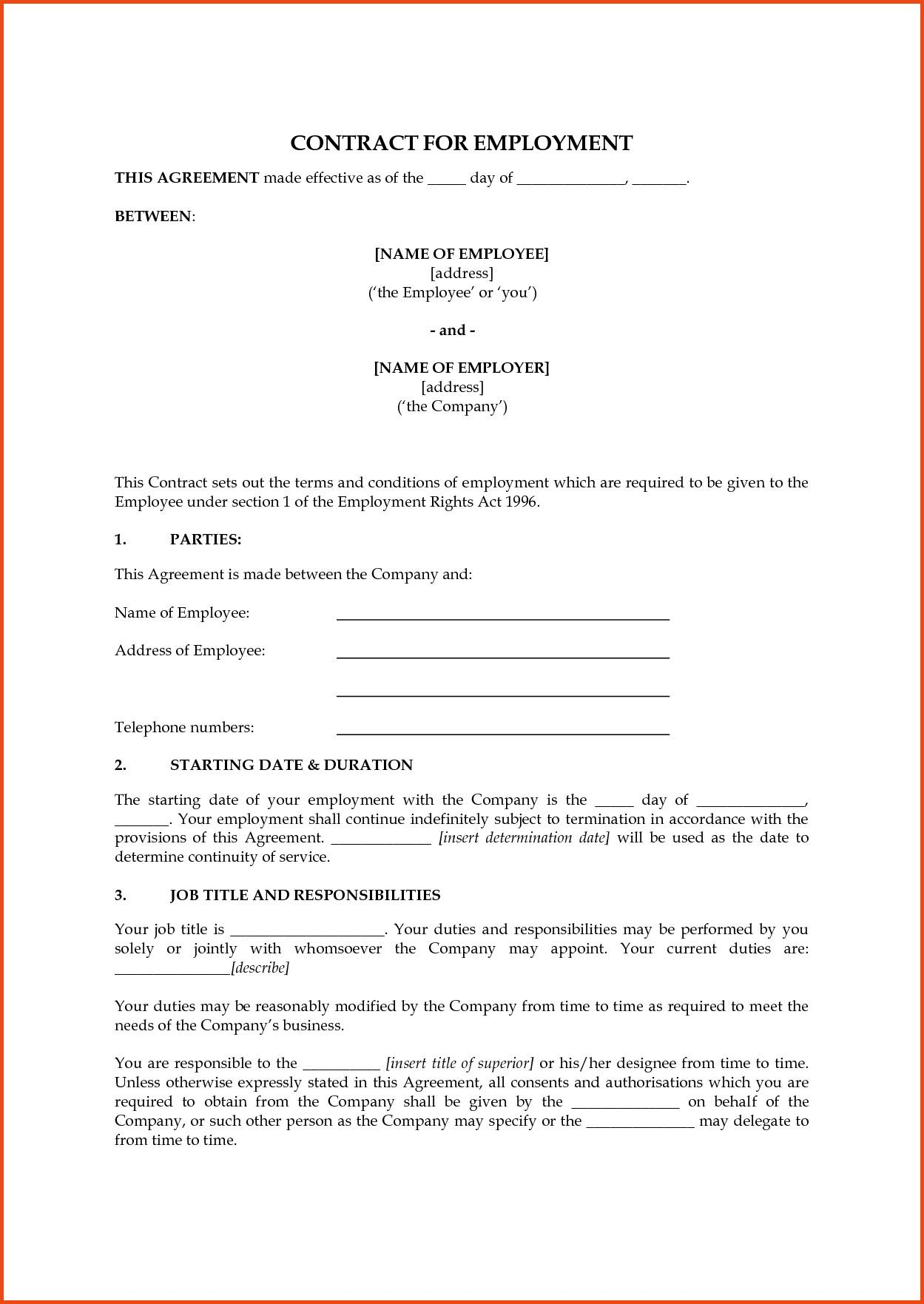 Employee Contracts Template Uk