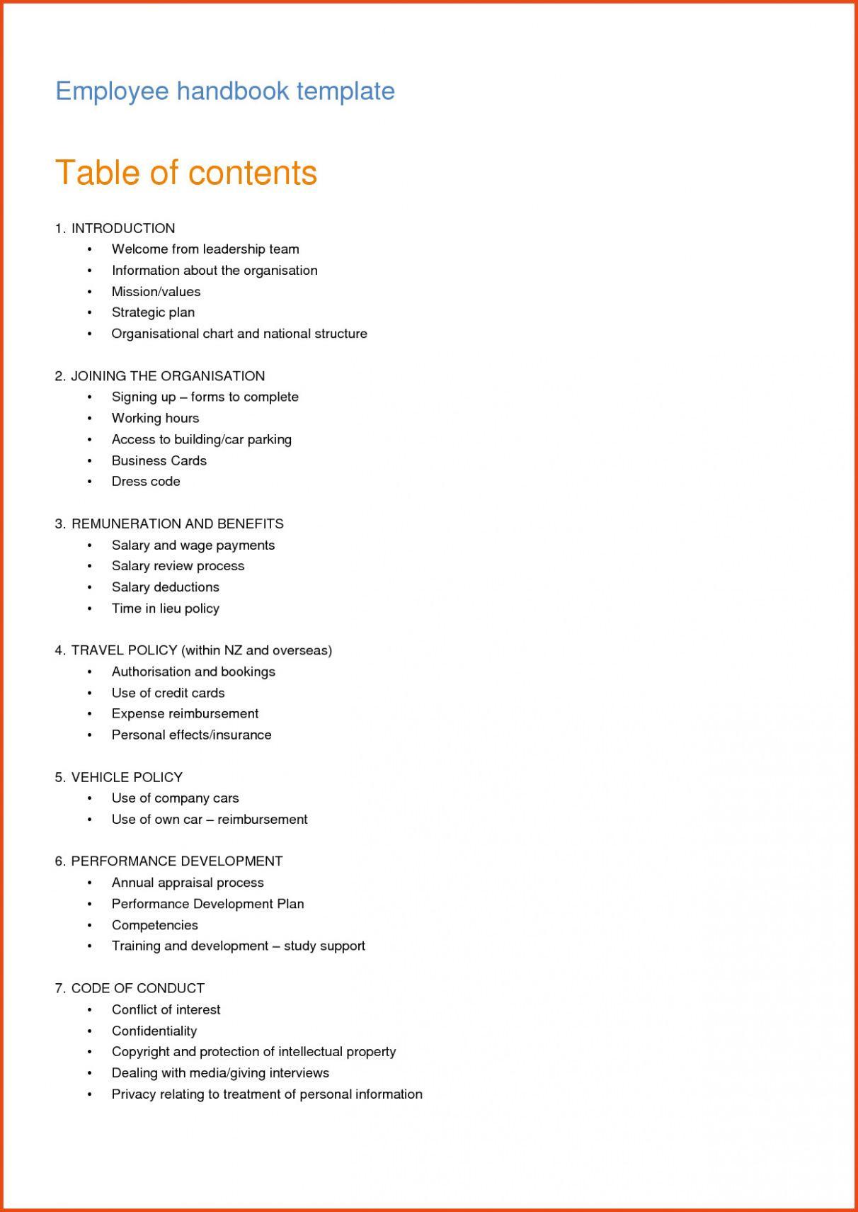 Employee Handbook Template Nz