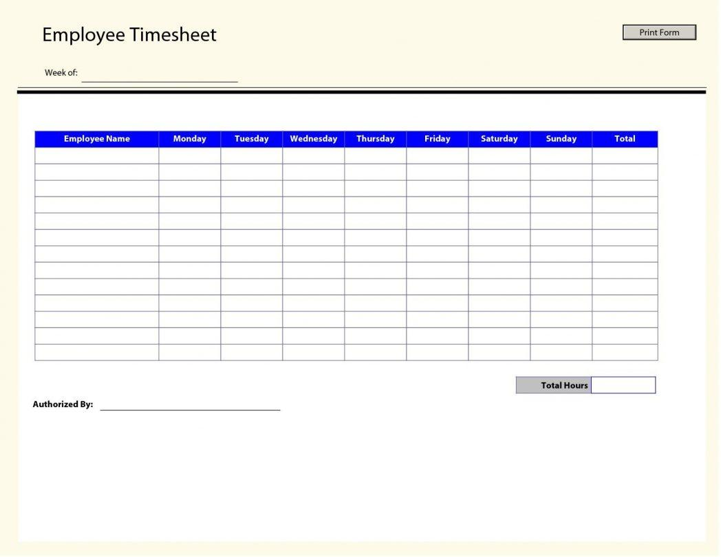 Employee Timesheet Template Pdf