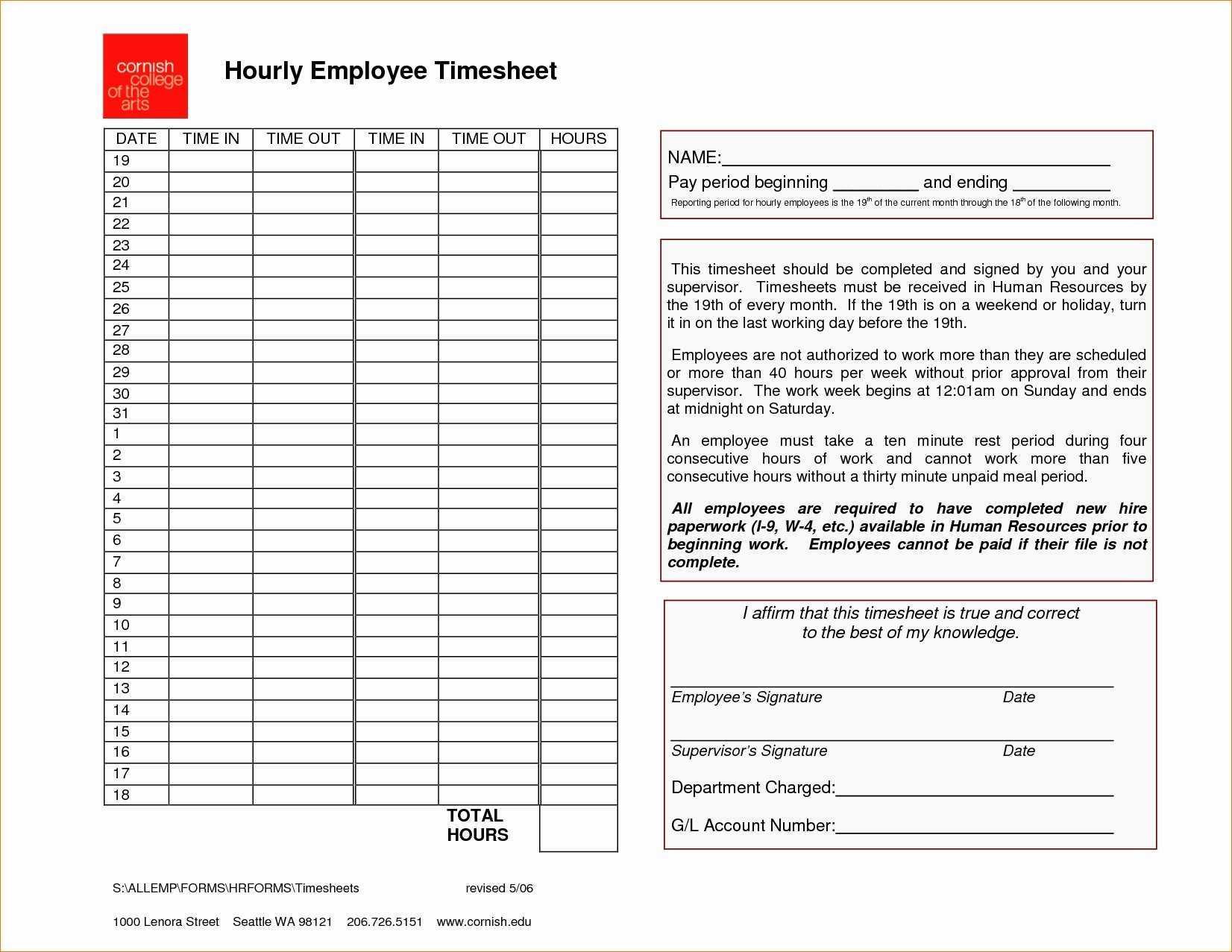 Employee Timesheet Template Word