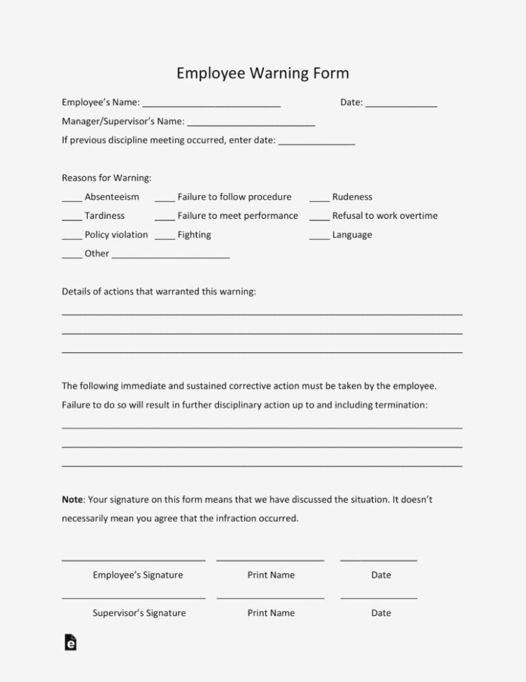 Employee Warning Notice Form Template