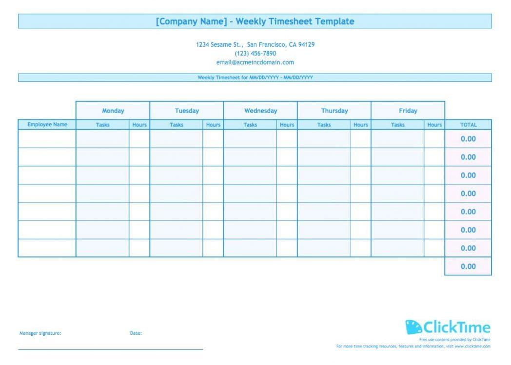 Employee Weekly Timesheet Template Free
