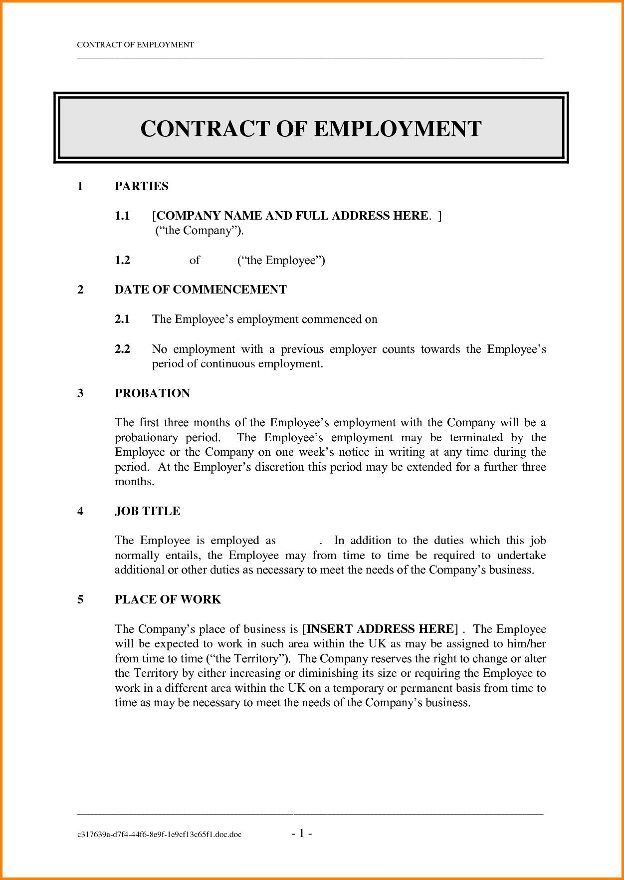 Employment Contract Template Word Philippines