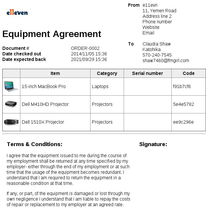 Equipment Borrowing Agreement Template