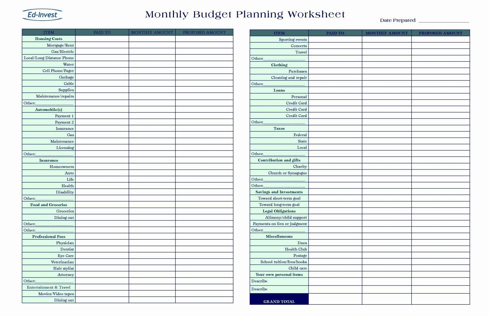 Event Planning Worksheet Template Free
