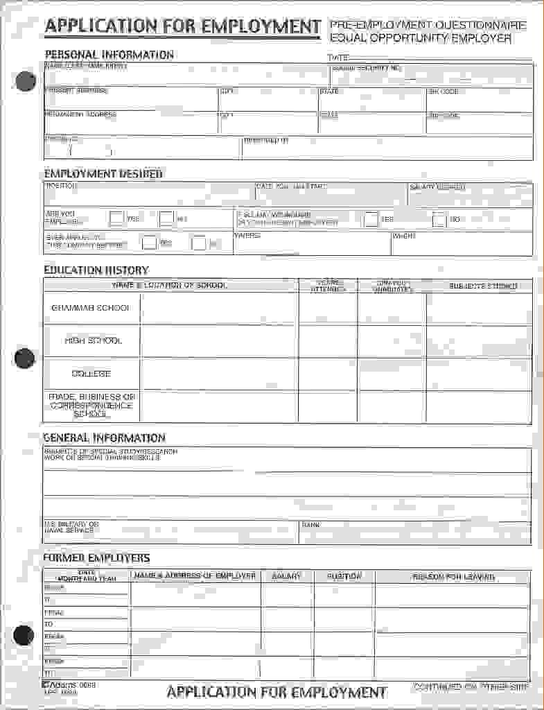 Free Printable Blank Job Applications Forms