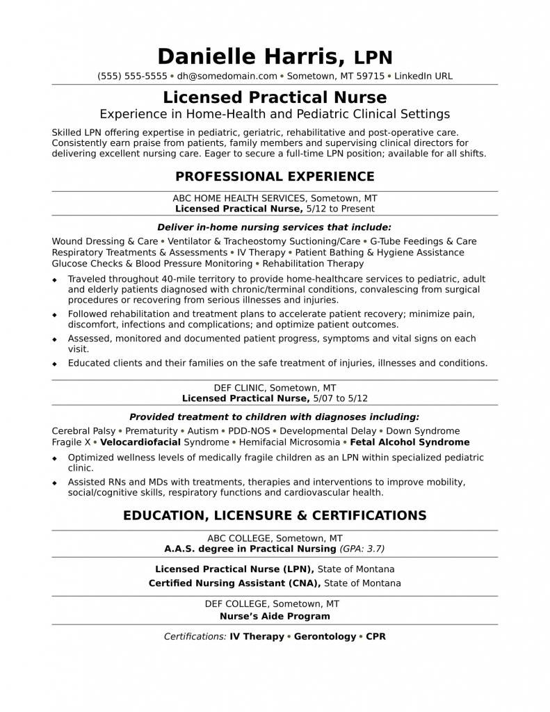 Functional Resume For Nursing Assistant