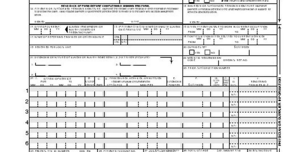 Hcfa 1500 Claim Form Fillable Pdf