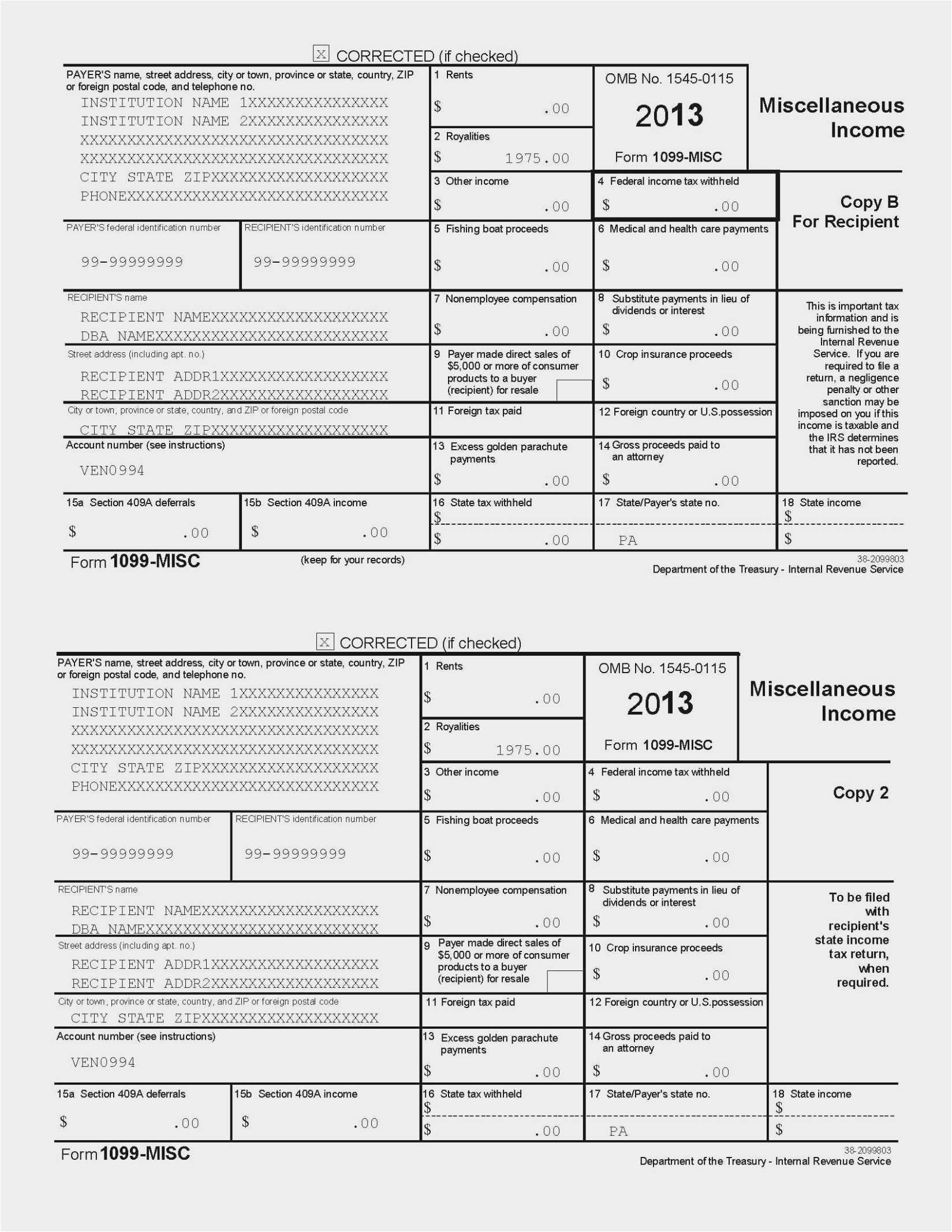 Irs 1099 Form 2013 Download
