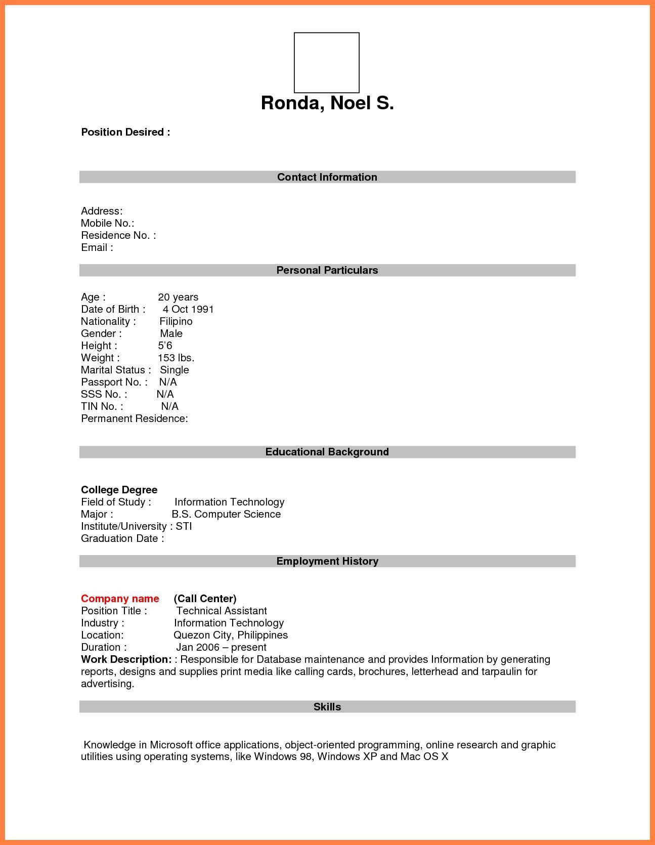 Job Resume Format Pdf File
