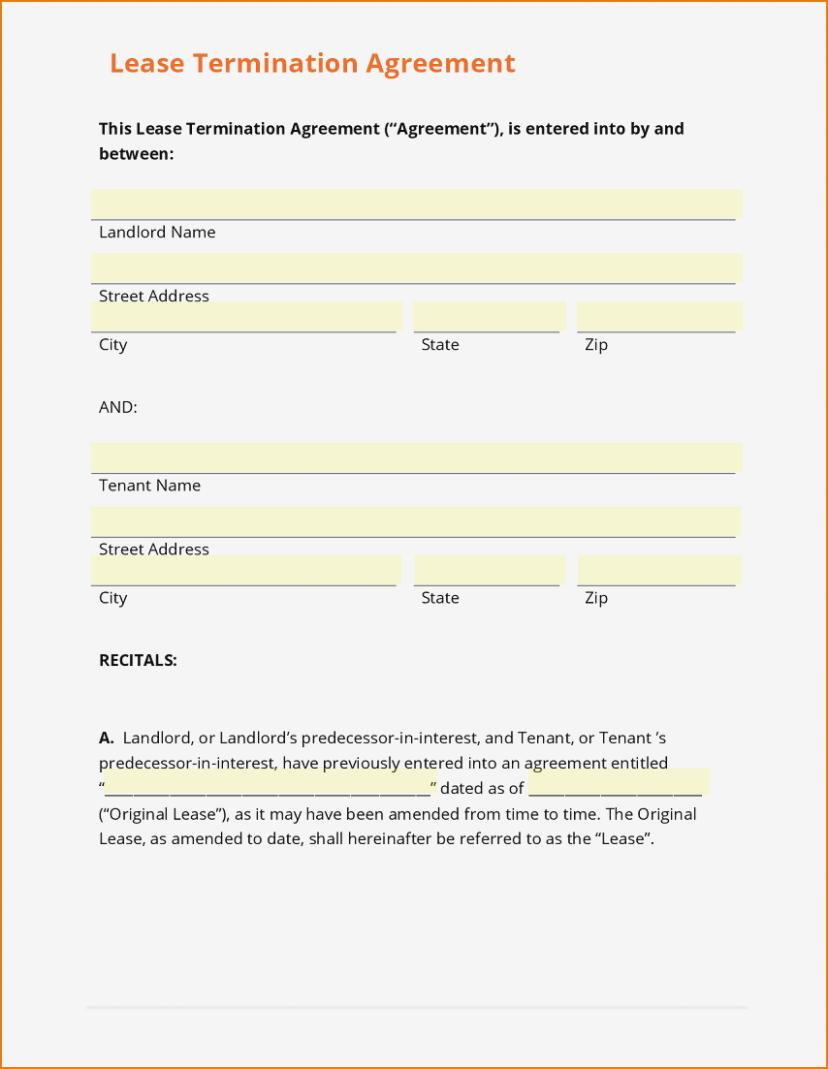 Lease Termination Agreement Form California