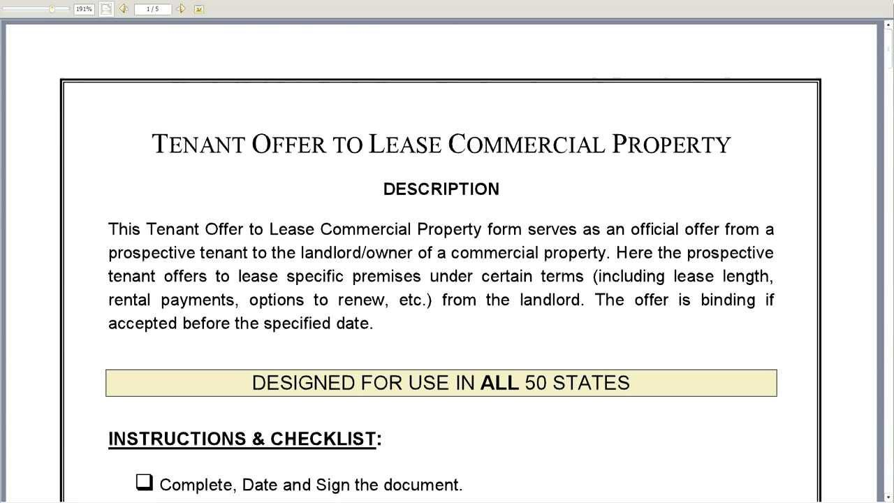 Letter Of Intent Lease Commercial Space Sample