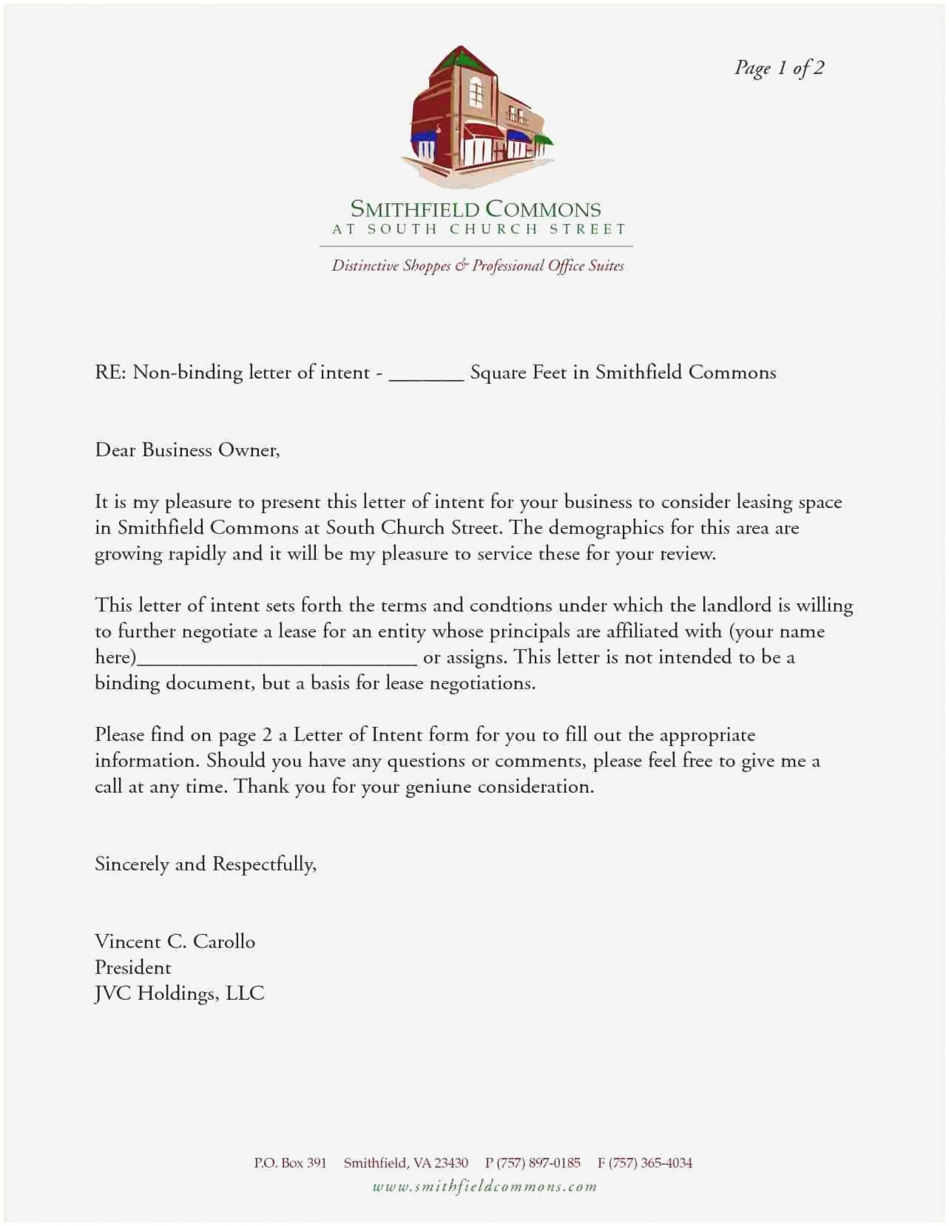 Letter Of Intent To Lease Example