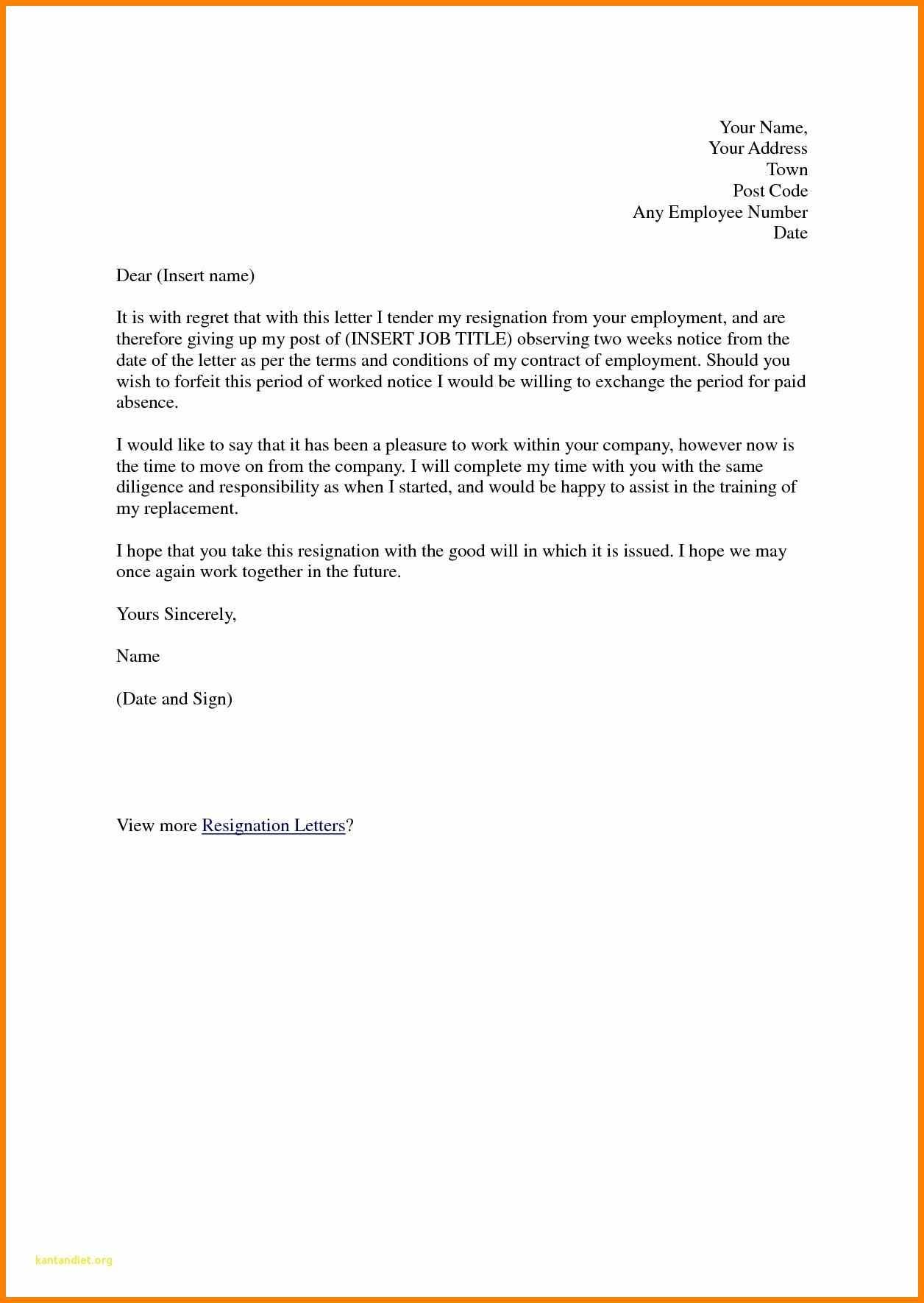Letter Of Resignation Template Uk