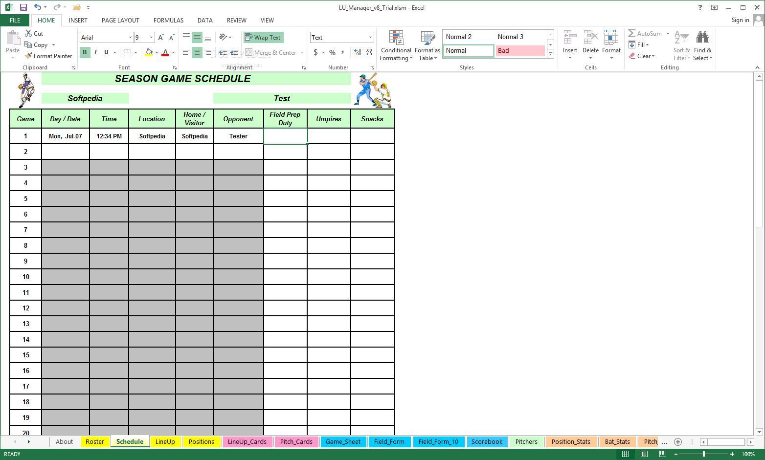 Little League Schedule Template