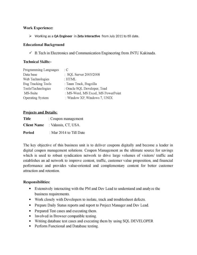 Manual Testing Sample Resumes For Freshers