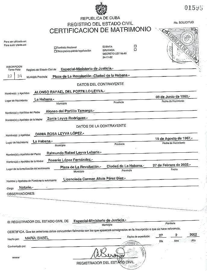 Marriage Certificate Translation Example