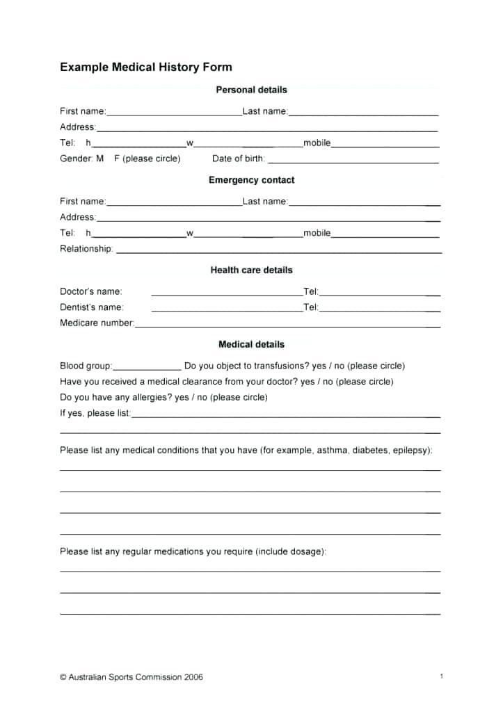 Medical Questionnaire Template Pdf
