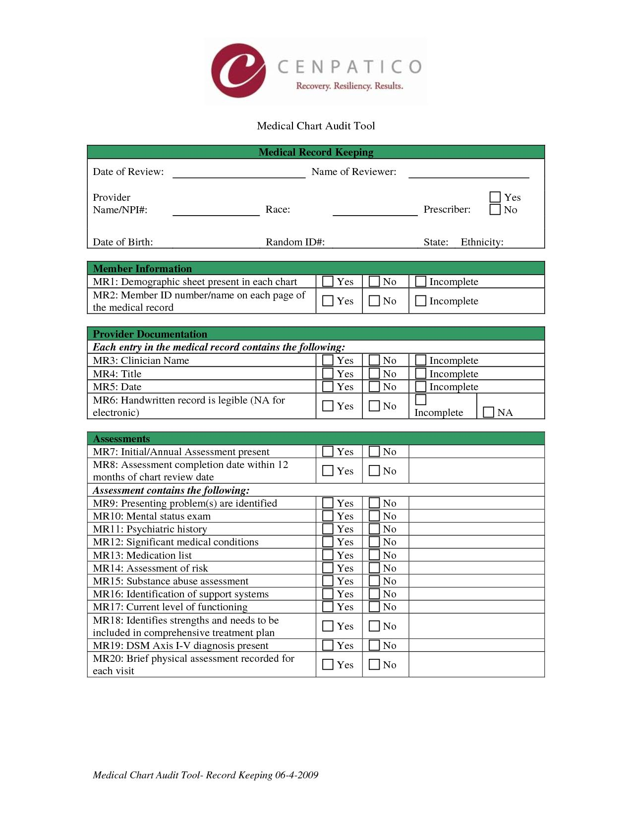 Medical Record Chart Review Form