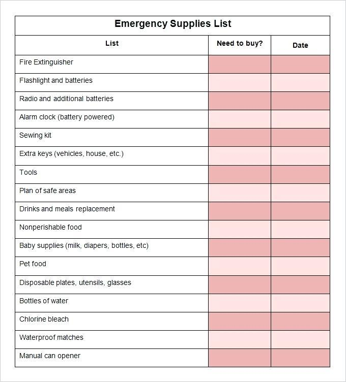 Medical Supply List Template