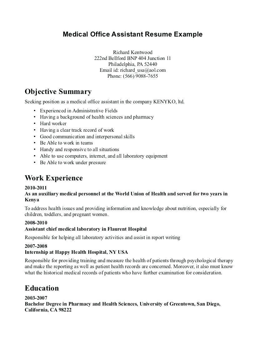 Medical Unit Secretary Resume Sample