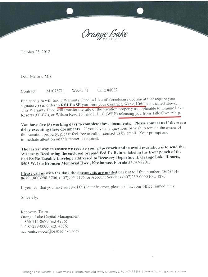 Mexican Timeshare Cancellation Letter Sample