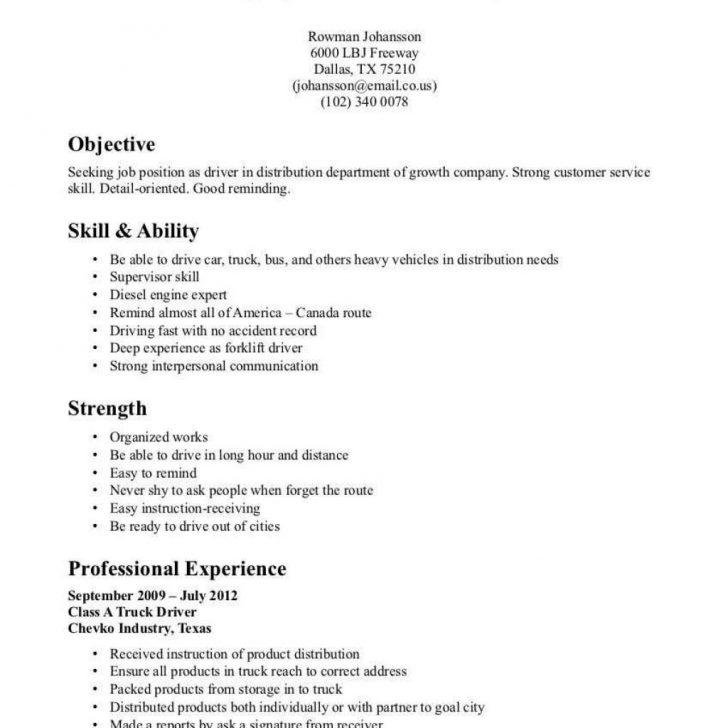 Objective For Resume For Driving Job