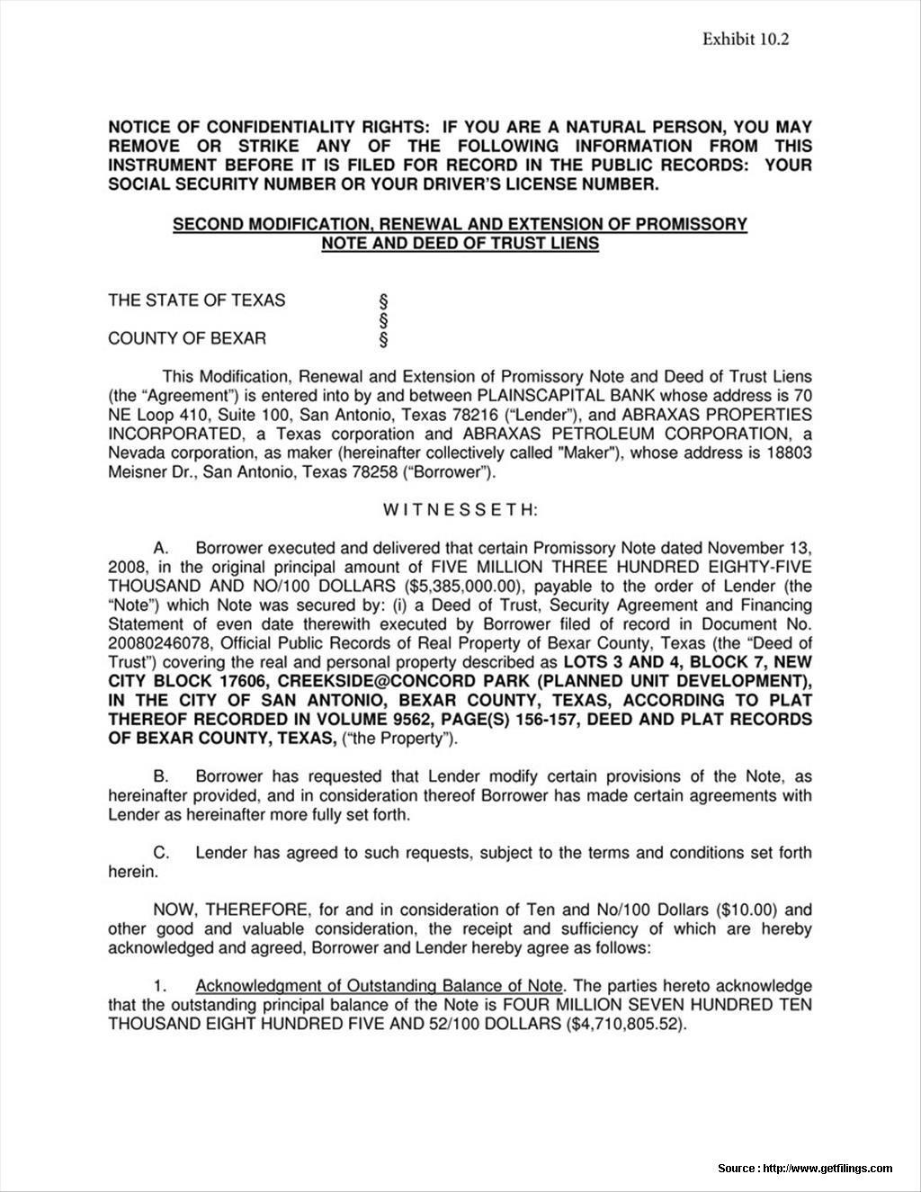 Promissory Note Modification Agreement Form