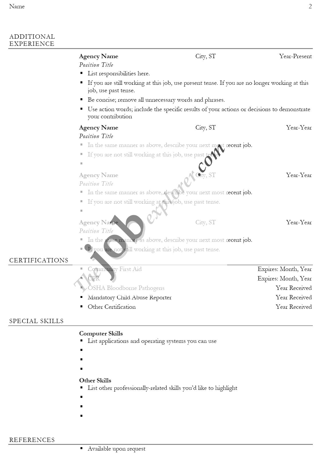 Resume Normal Biodata Format Download
