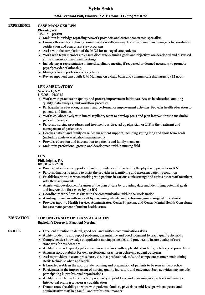 Sample Lpn Resume With Nursing Home Experience