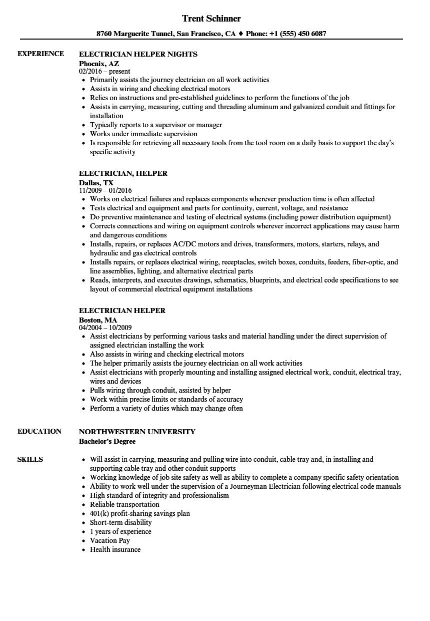 Sample Resume For Electrician Helper