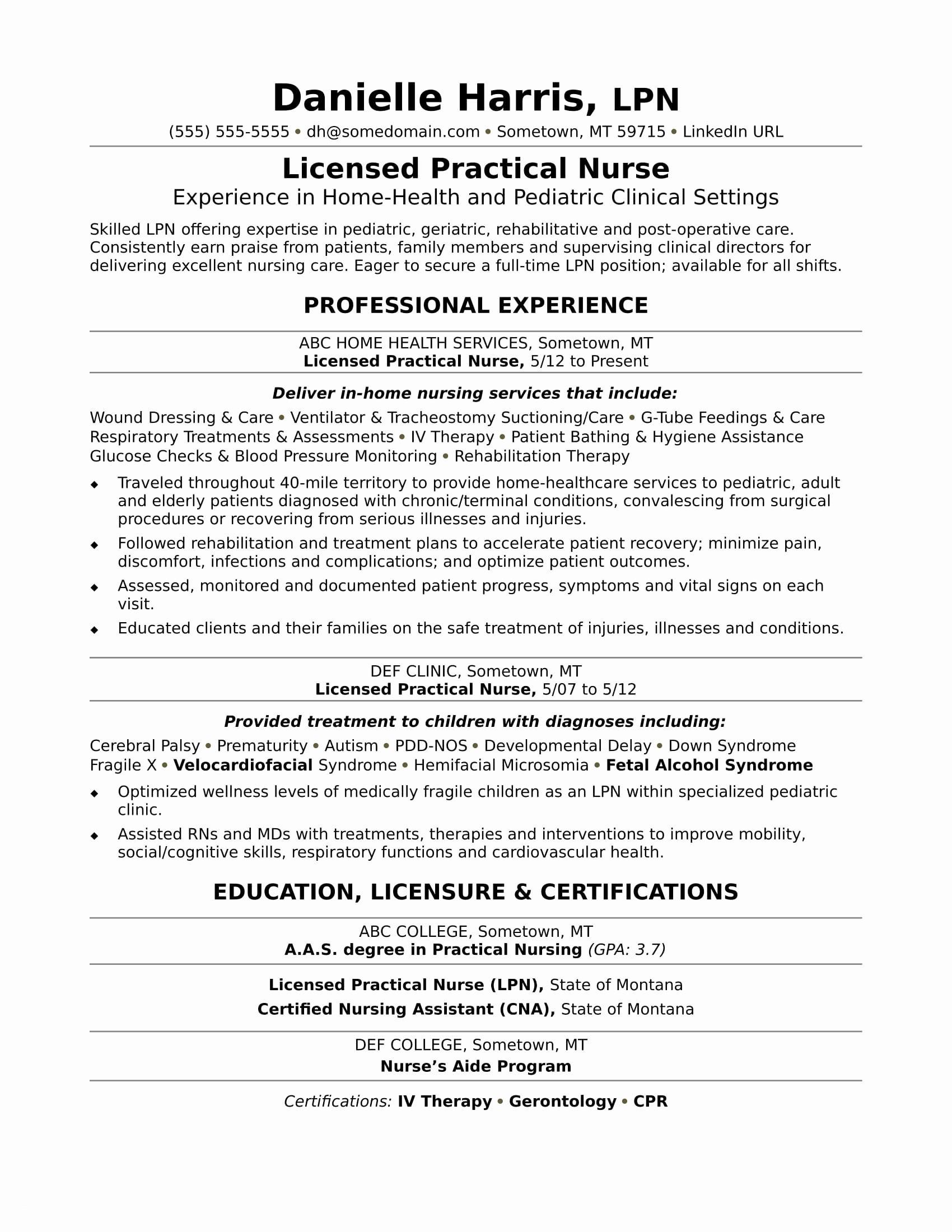 Sample Resume For Nurses Pdf