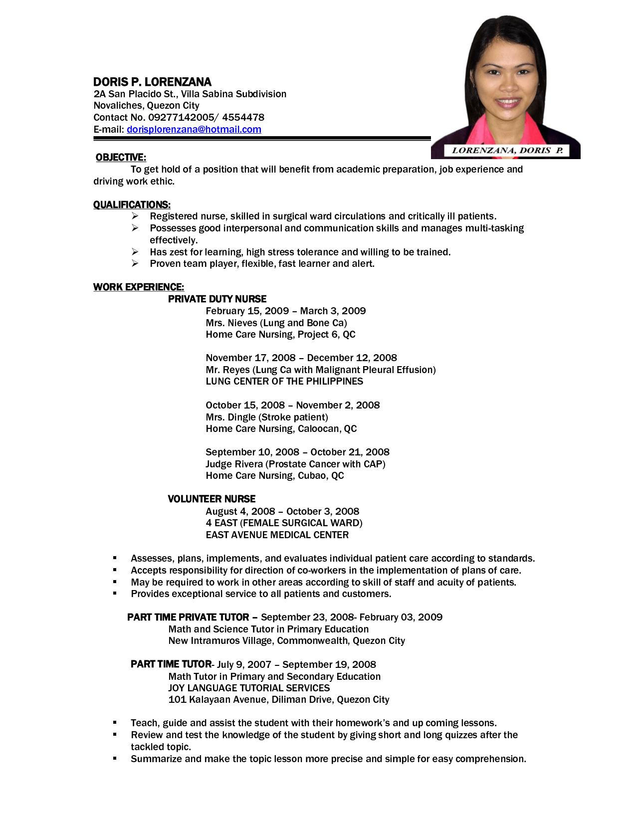 Sample Resume Philippines Format Download