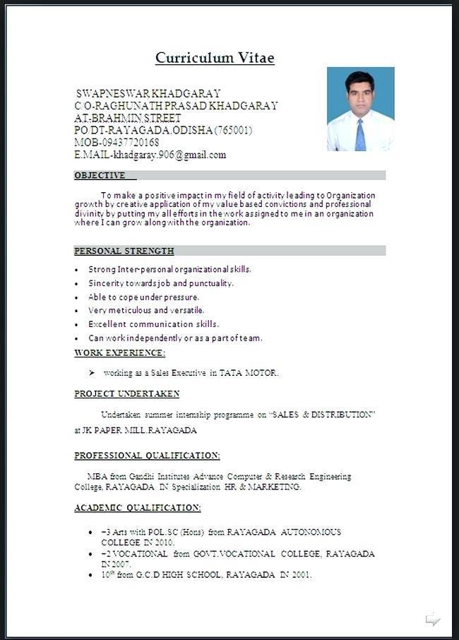 Simple Resume Format In Word Document