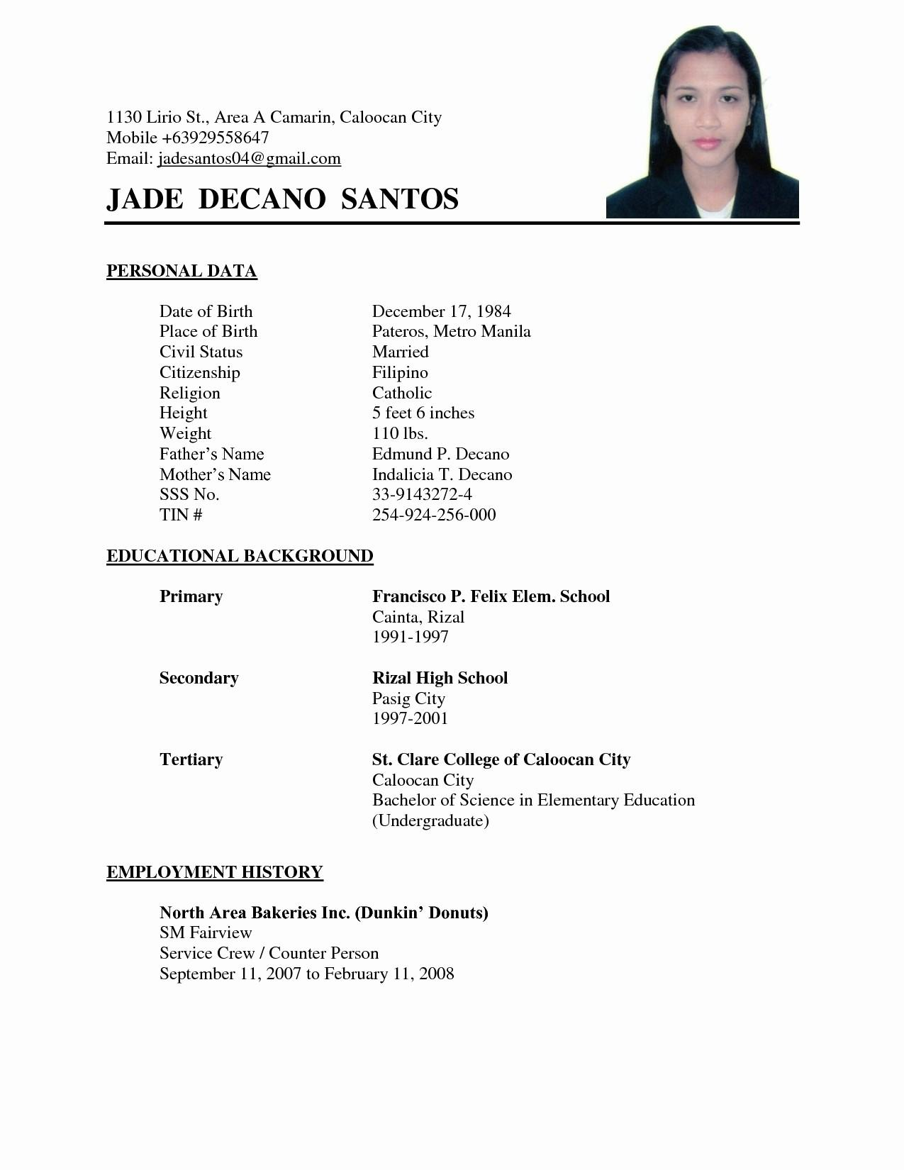 Simple Resume Sample Format Philippines