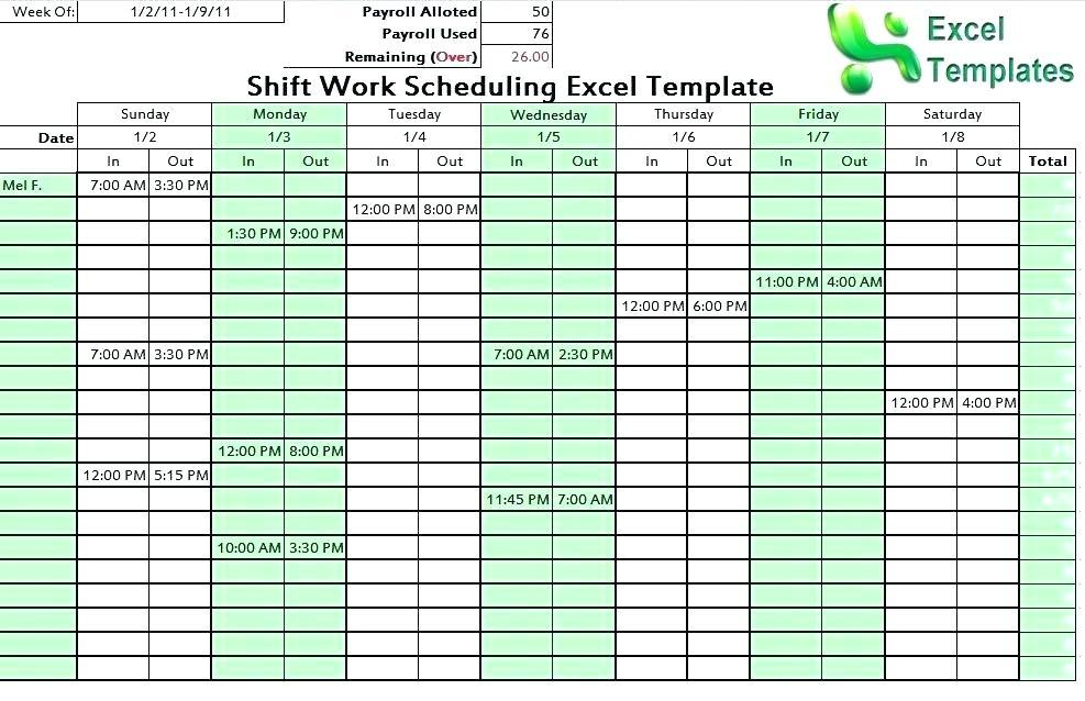 10 Hour Fixed Shift Schedule Templates