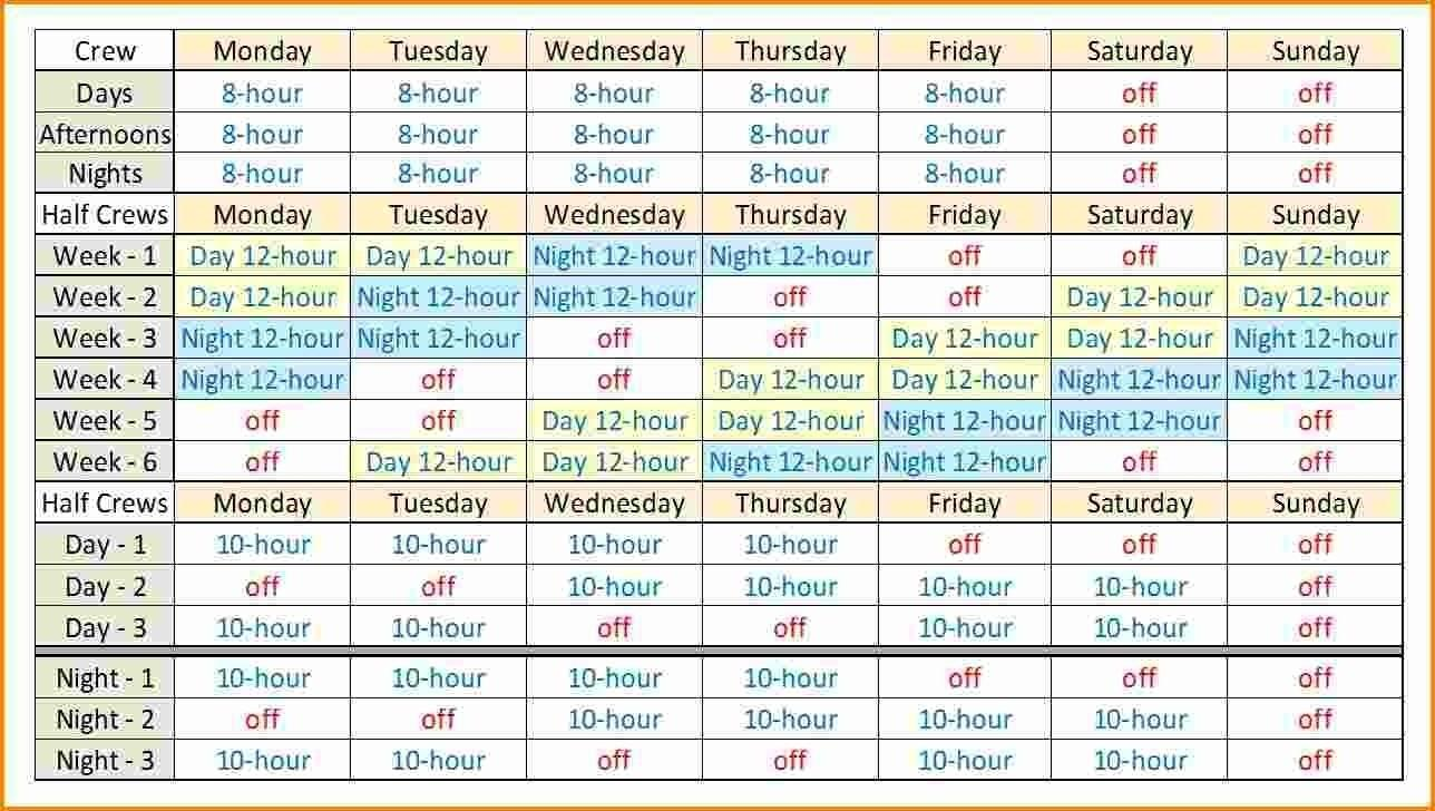 12 Hour Rotating Shift Template