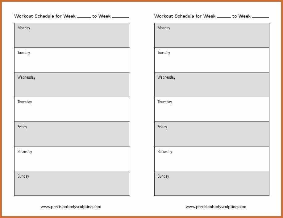 12 Week Workout Calendar Template