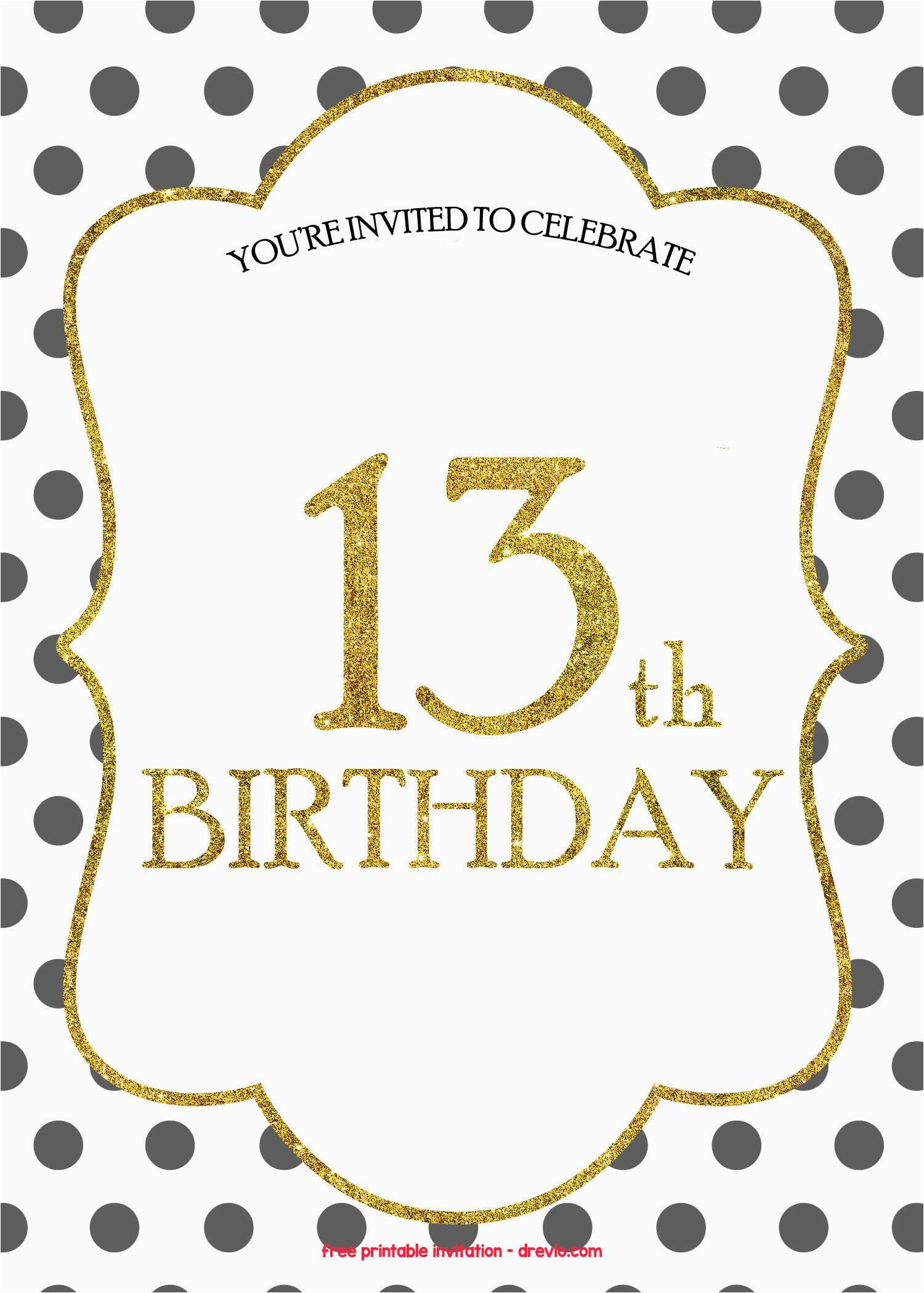 13th Birthday Party Invitations Templates