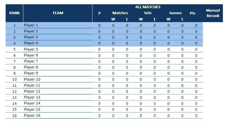 16 Team League Schedule Template