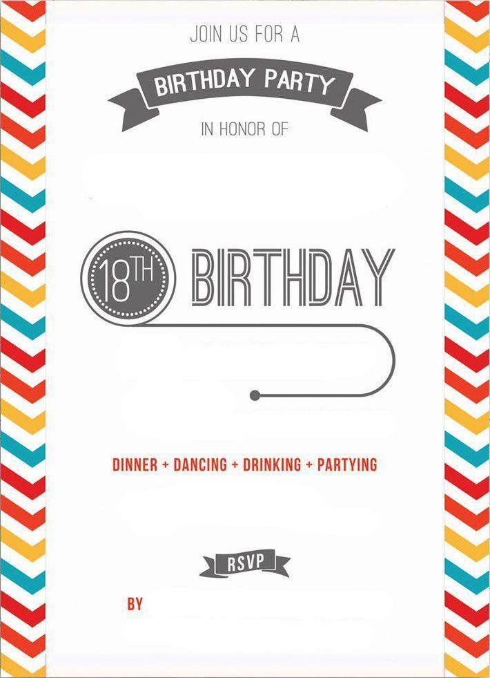 18th Birthday Invitations Free Printable Templates