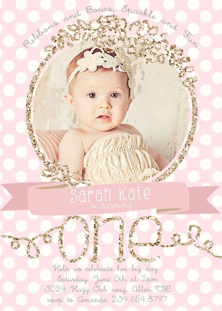 1st Birthday Invitation Girl Template