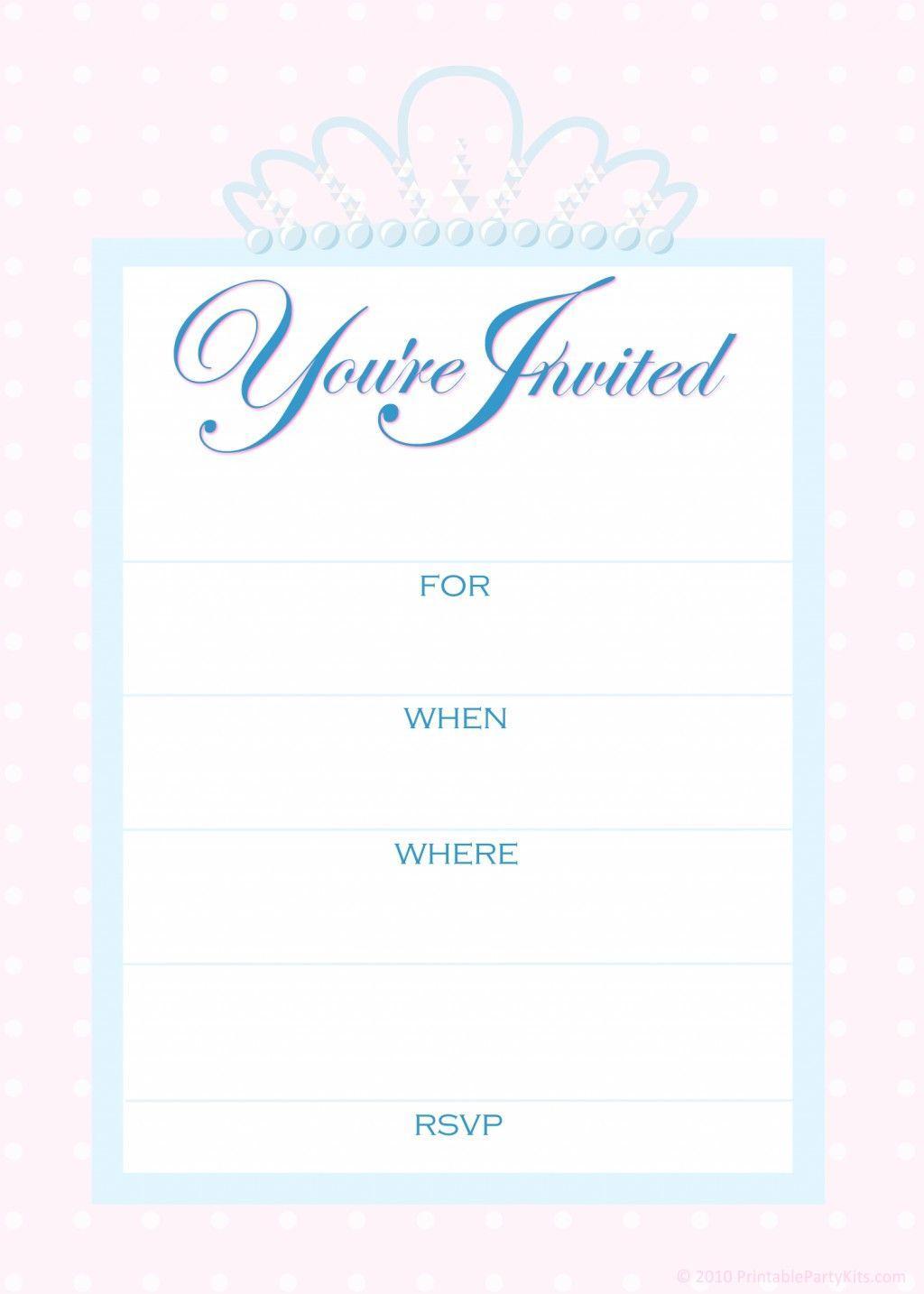 1st Birthday Princess Invitation Templates Free