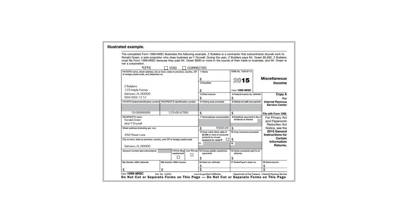 2015 Form 1099 Template Word