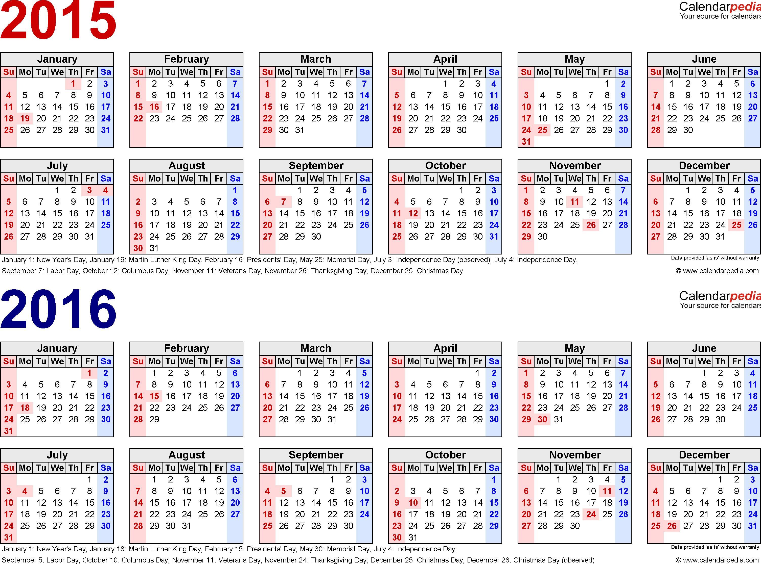 2016 Payroll Calendar Template