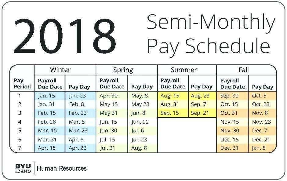 2017 Semi Monthly Payroll Calendar Template