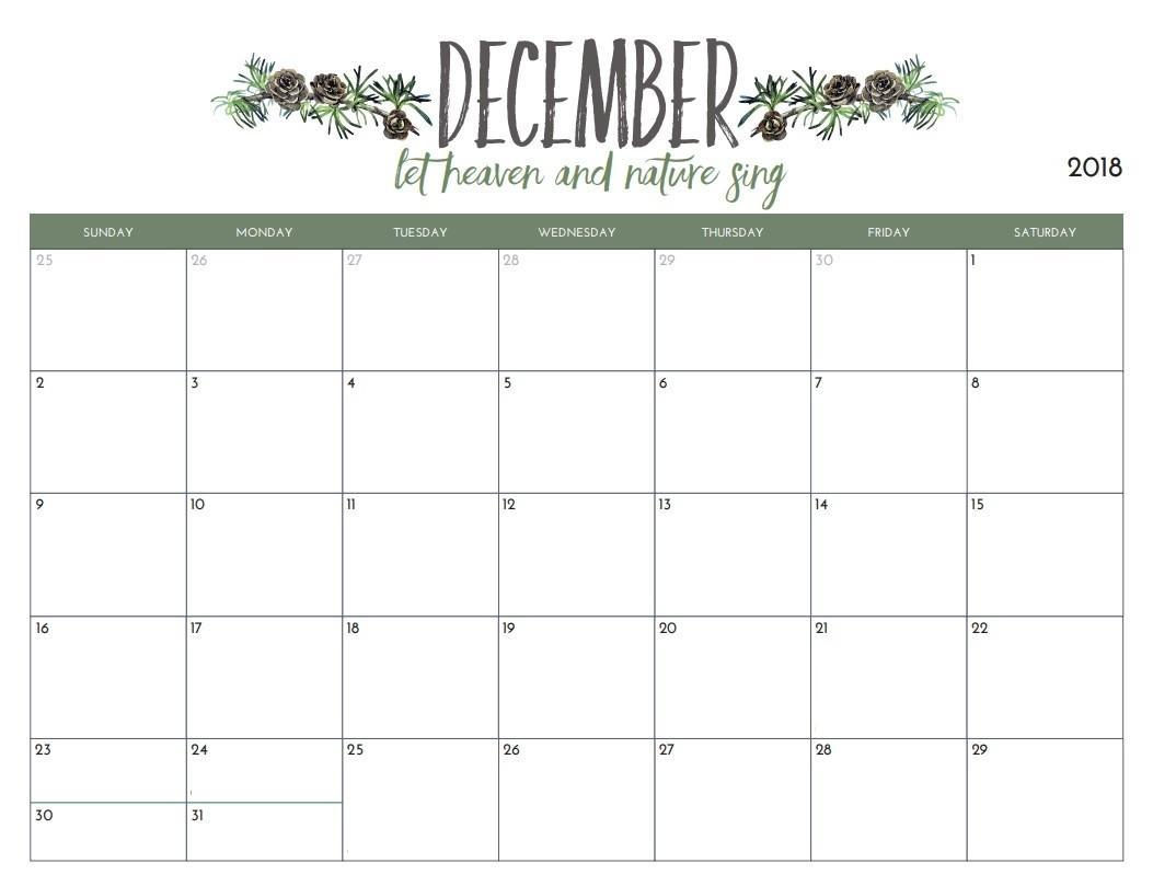 2018 Calendar Editable Template