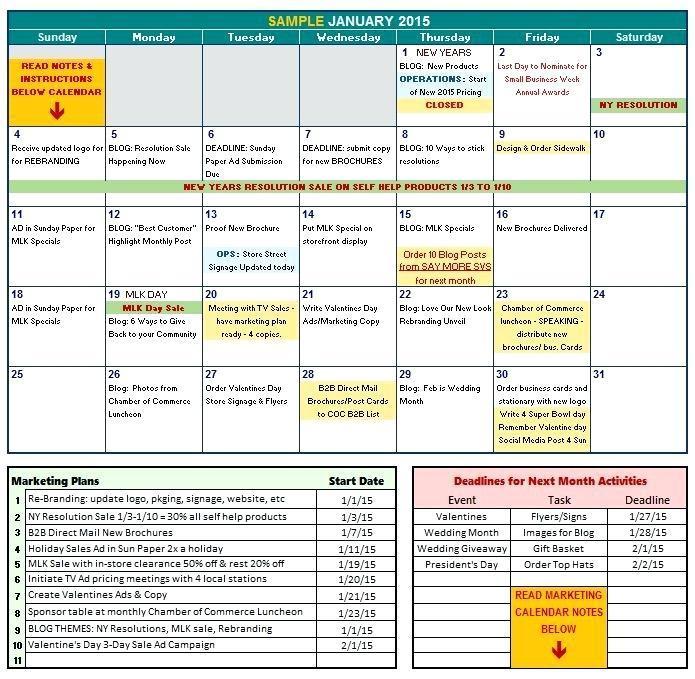 2018 Marketing Calendar Template Excel